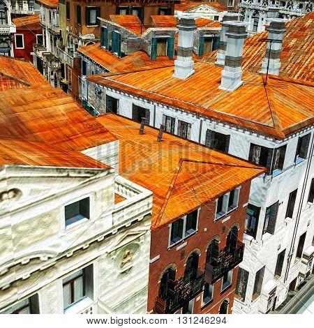 Typical Italian city, 3d illustration