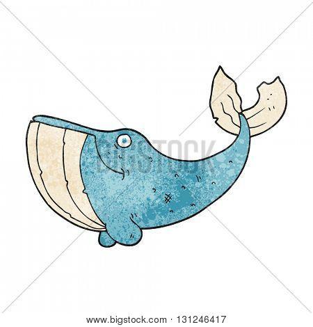 freehand textured cartoon whale