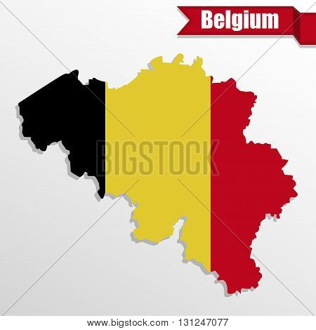 Belgium map with Belgium flag inside and ribbon