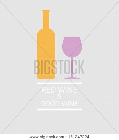 Red wine tasting card a bottle with glass over a silver background with inscription. Digital vector image.