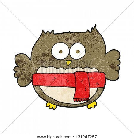 freehand textured cartoon cute owl