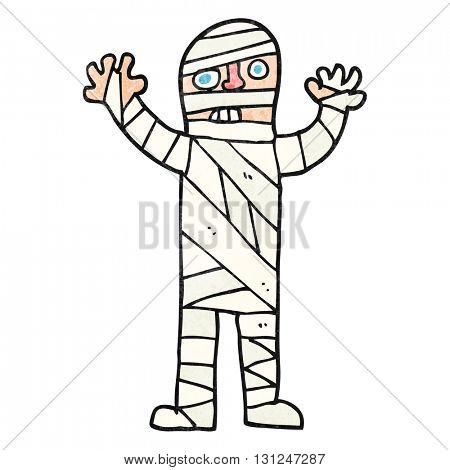 freehand textured cartoon bandaged mummy