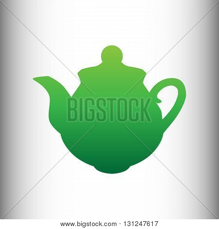 Tea maker sign. Green gradient icon on gray gradient backround.