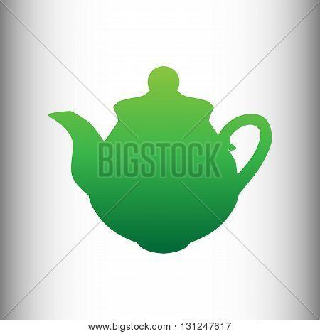 Tea maker sign. Green gradient icon on gray gradient backround.