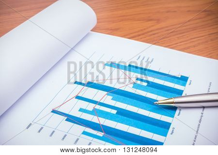 Financial charts with pen  on table