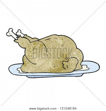 freehand textured cartoon cooked chicken