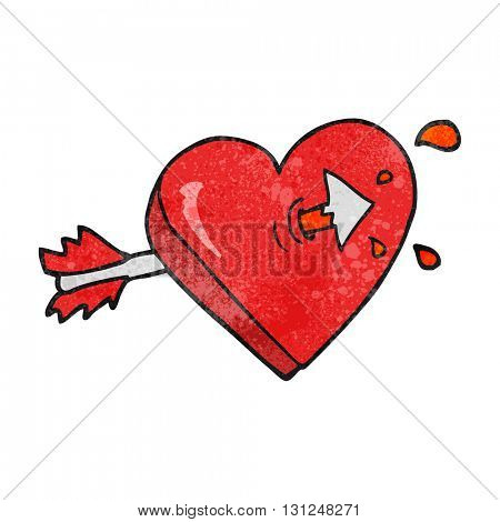 freehand textured cartoon arrow through heart freehand textured cartoon