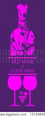 Red wine and tasting card bottle with two glass and grape sign over purple background. Digital vector image.