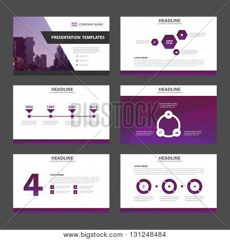 Purple multipurpose presentation templates Infographic elements flat design set for brochure flyer leaflet marketing advertising