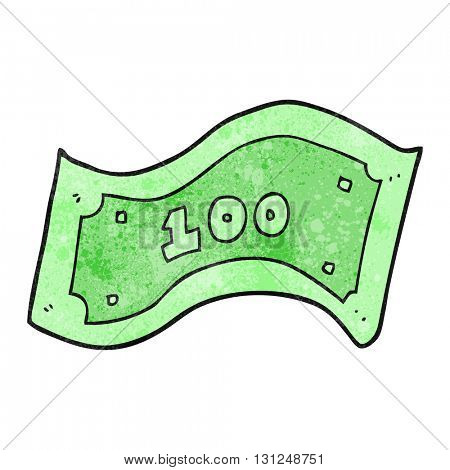 freehand textured cartoon 100 dollar bill
