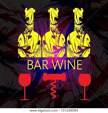 White wine and tasting card yellow bottles with red glass and corkscrew over dark water color background. Digital vector image.