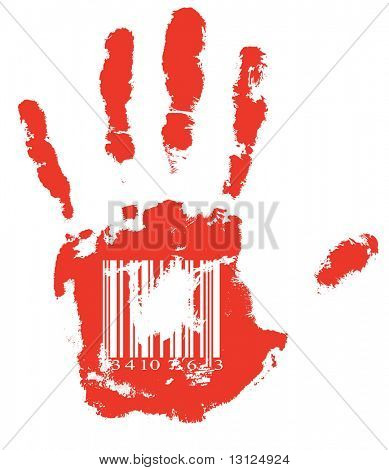 Identification. Red handprint with barcode. (vector format)