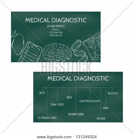 Template professional business cards for printing in the printing industry isolated on white background. Medical laboratory clinic diagnosis. Vector illustration