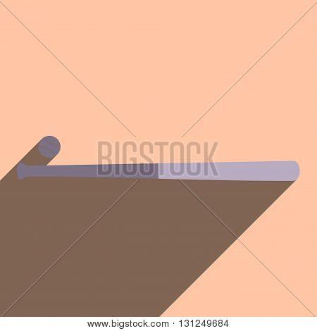 Flat icons with shadow of baseball bat. Vector illustration