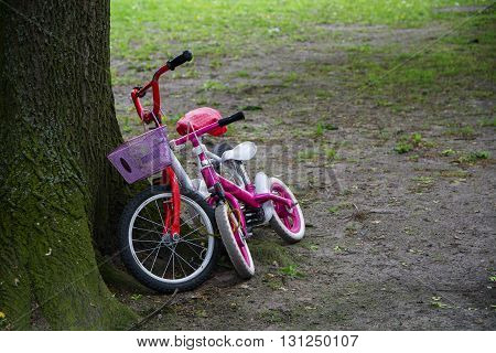 two children's bikes in red and pink leaning side by side at a tree trunk concept for friendship
