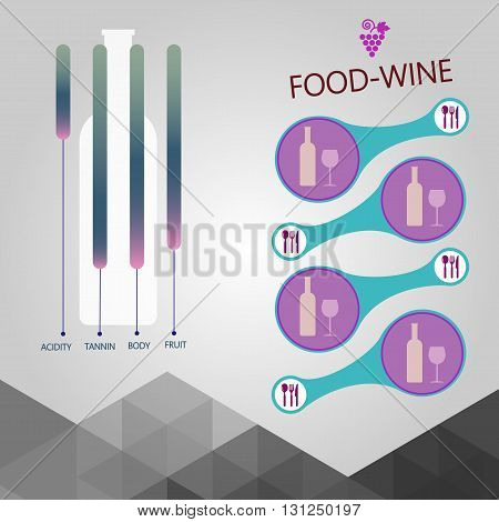 Food and wine info graphic bottle with components description over silver background. Digital vector image.