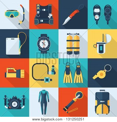 Scuba Diving Vector Icon Set