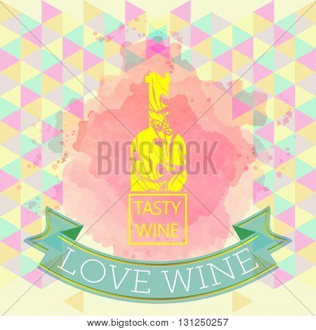 Red wine love and tasting card yellow bottle over water color background with pattern. Digital vector image.
