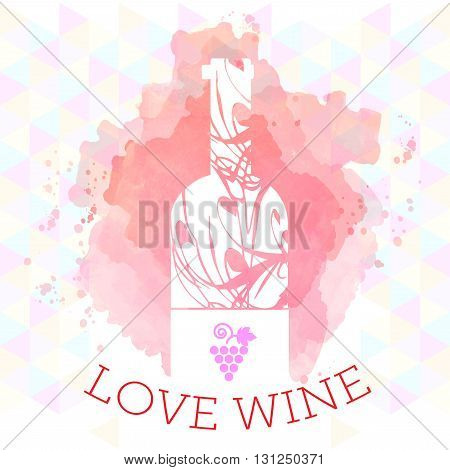 Wine tasting and love card white bottle and grape sign over red background with water color. Digital vector image.