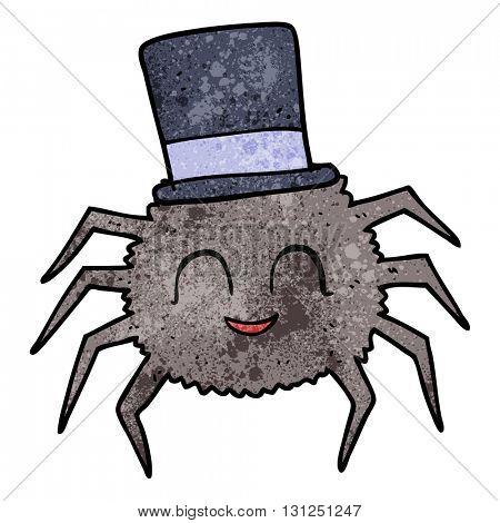 freehand textured cartoon spider wearing top hat