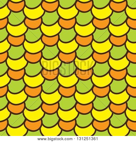 Seamless summer background. Hand drawn pattern. Suitable for fabric, greeting card, advertisement, wrapping. Bright and colorful abstract ornament multicolored corn kernels. Summer pattern of corn