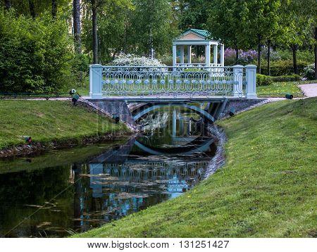 Polish park in Saint-Petersburg in spring in May