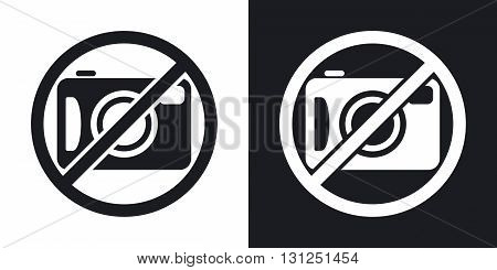 Vector no photography sign. Two-tone version on black and white background