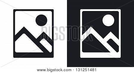 Vector photograph icon. Two-tone version on black and white background