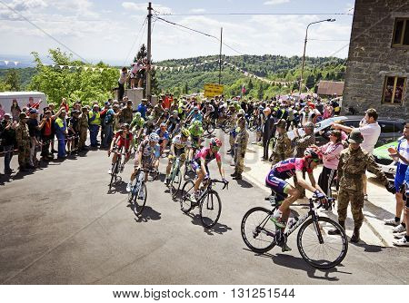MONTEMAGGIORE Italy - may 20. 2016: LAMPRE MERIDA leading main group during Giro di Italia 2016 13st stage 170km