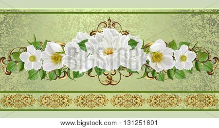 Flower garland of white flowers. Gold weave. Old style. Floral background. Horizontal floral border. Pattern seamless.