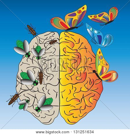 Vector illustration about temptation, addiction and negative thoughts. On the blue background  is  a human brain with  green flies, cockroaches, butterflies .(Can be repeated and scaled in any size.)