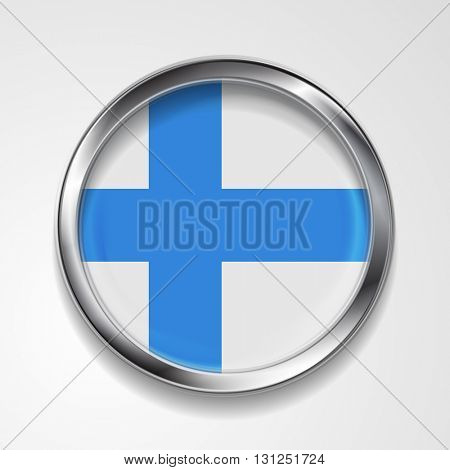 Abstract vector button with metallic frame. Finnish flag