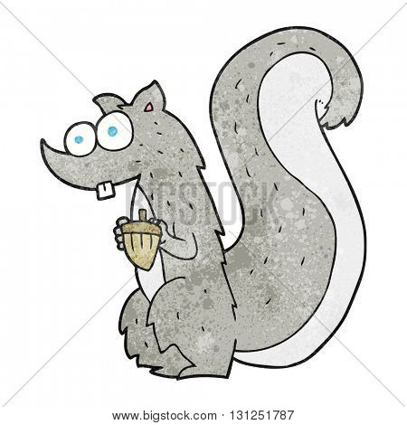 freehand textured cartoon squirrel with nut