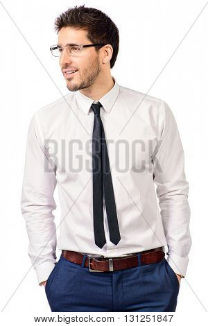 Portrait of a confident smiling businessman in white shirt. Men's beauty, fashion. Isolated over white.