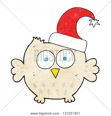 freehand textured cartoon little owl wearing christmas hat