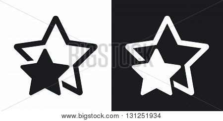 Vector star favorite or best choice icon. Two-tone version on black and white background
