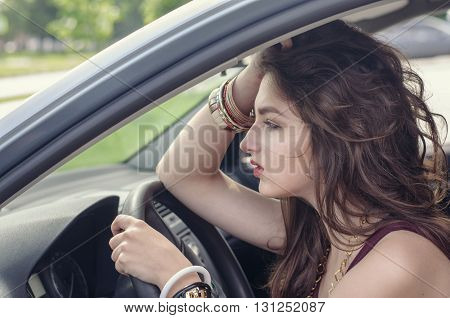 Woman Sitting In Car As A Driver.