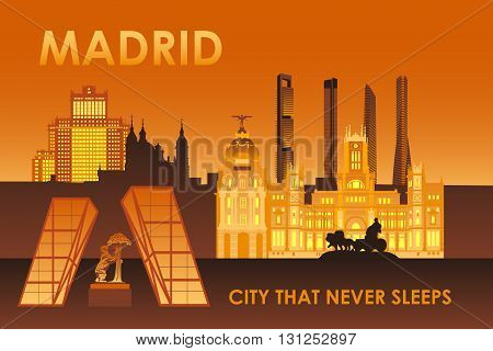 Madrid city landmarks at night vector illustration. Cibeles palace Bear and strawberry tree Cuatro torres skyscrapers.