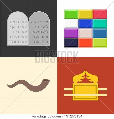 Old testament icons set, rock of 10 commandments in hebrew alphabet, ephod breast plate of high priest, shofar horn, ark of covenant, flat design