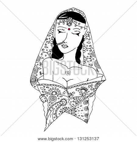 vector uncolored indian girl in doodle style. Abstract people picture.