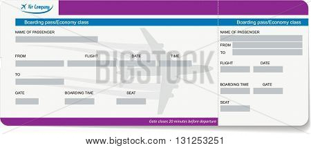 Vector template of a boarding pass or air ticket. Concept of travel, journey or business trip