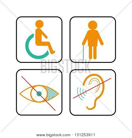 Disabled signs: deaf, blind, and wheelchair vector icons