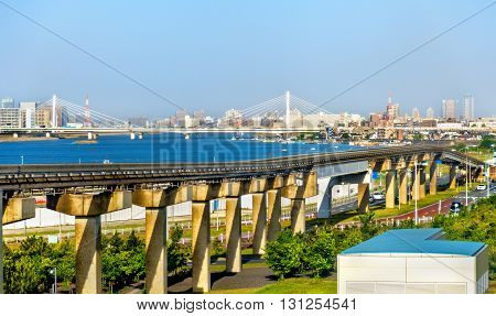 Tokyo Monorail line at Haneda International Airport - Japan