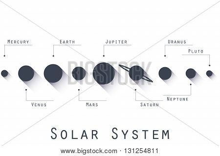 The planets of the solar system. Vector illustration in flat style.