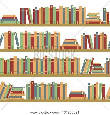 Seamless books seamless pattern with books library bookshelf library bookstore books on a shelves in library flat books seamless pattern book shelf with books