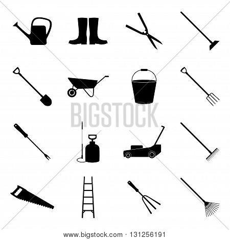 Set of black gardening icons, vector illustration