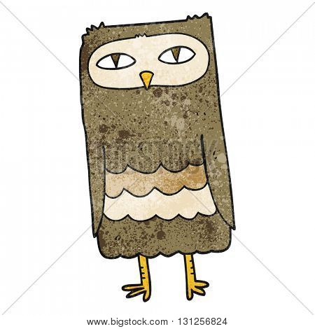 freehand textured cartoon owl