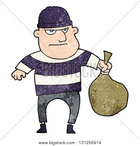 freehand textured cartoon burglar with loot bag