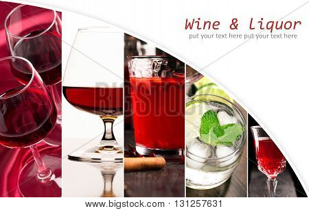 Collage of photos of different alcohol drinks (dark and white background)