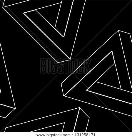 Pattern geometric seamless simple monochrome minimalistic pattern of impossible shapes, rectangles, triangles